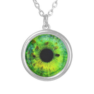 Green Eye Pendant Necklace Third Eye Jewelry