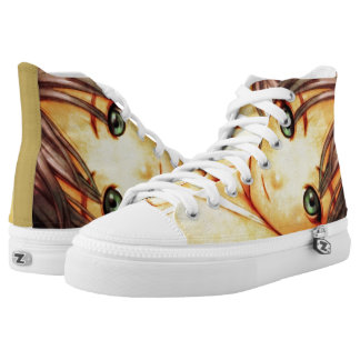 Green Eyed Anime Girl Airbrush Custom Collector Printed Shoes