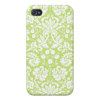 Green fancy damask pattern iPhone 4 cover