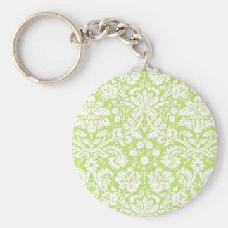 Green fancy damask pattern key chain
