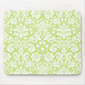 Green fancy damask pattern mouse pad