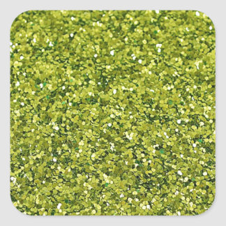 GREEN (faux) GLITTER Square Sticker