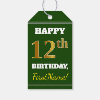 Green, Faux Gold 12th Birthday + Custom Name Gift Tags