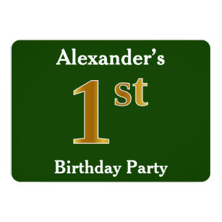 Green, Faux Gold 1st Birthday Party + Custom Name Card