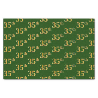 Green, Faux Gold 35th (Thirty-Fifth) Event Tissue Paper