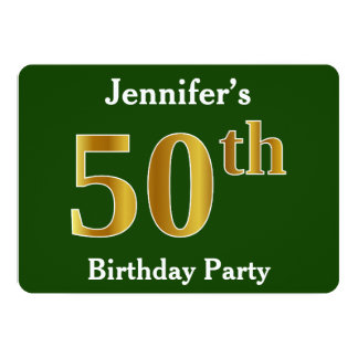 Green, Faux Gold 50th Birthday Party + Custom Name Card
