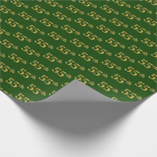 Green, Faux Gold 55th (Fifty-Fifth) Event Wrapping Paper