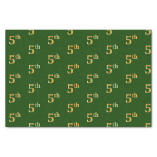 Green, Faux Gold 5th (Fifth) Event Tissue Paper