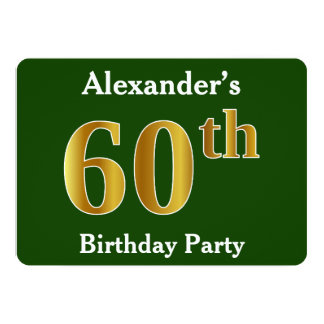 Green, Faux Gold 60th Birthday Party + Custom Name Card