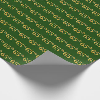 Green, Faux Gold 65th (Sixty-Fifth) Event Wrapping Paper