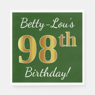 Green, Faux Gold 98th Birthday + Custom Name Paper Serviettes
