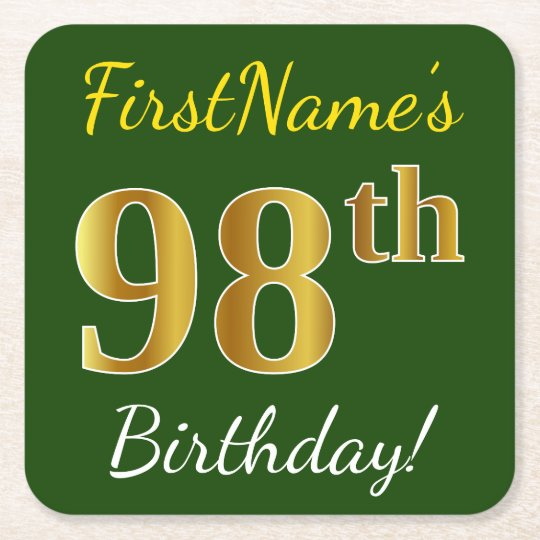 Green, Faux Gold 98th Birthday + Custom Name Square Paper Coaster