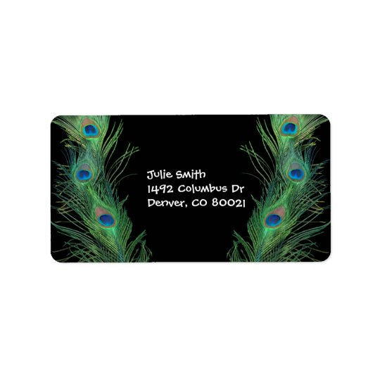 Green Feathers with Black Address Label