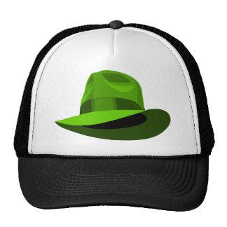 Green Fedora wide ribbon Cap
