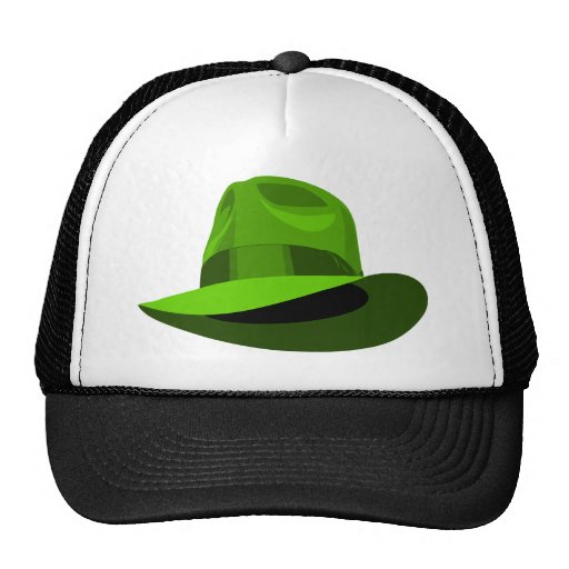 Green Fedora wide ribbon Trucker Hat