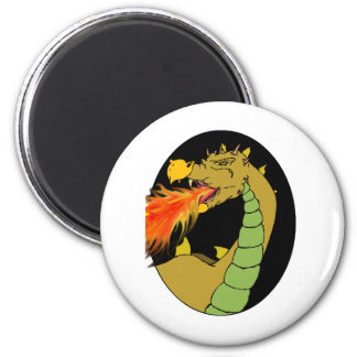 Green Fire Breathing Dragon 6 Cm Round Magnet