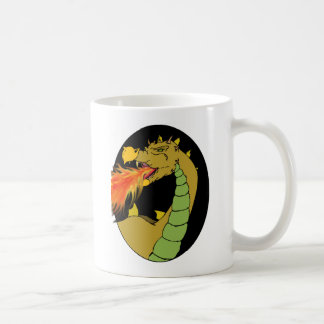 Green Fire Breathing Dragon Basic White Mug