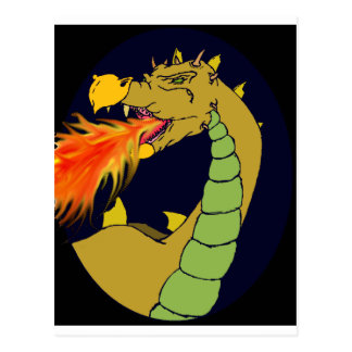 Green Fire Breathing Dragon Postcard