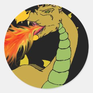 Green Fire Breathing Dragon Round Sticker