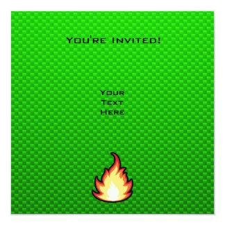 Green Fire Flame 5.25x5.25 Square Paper Invitation Card
