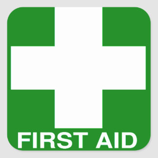 Green First Aid Sign Square Sticker