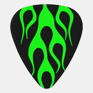 Green Flame Graphics Plectrum