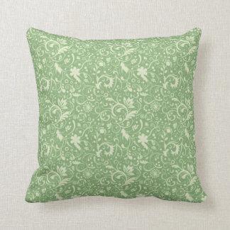 Green Floral Damask Pattern Cushion