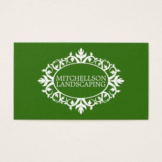 Green Floral Frame Business Card