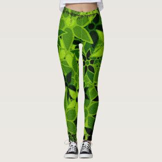 Green Floral Leggings