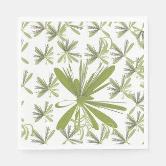 Green flower paper serviettes