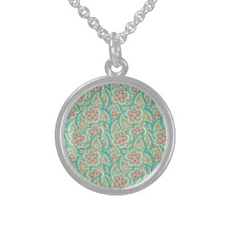 Green flower pattern sterling silver necklace