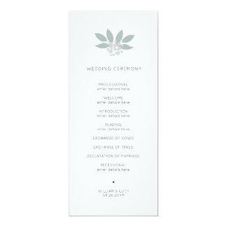 Green foliage wedding program