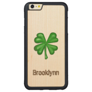 Green Four Leaf Clover Shamrock Carved Maple iPhone 6 Plus Bumper Case