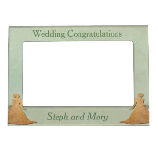 Green Frame - Mint Rustic Vintage Lesbian Wedding Magnetic Photo Frames