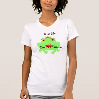 Green Frog Kiss Me I'm A Princess with BLING T-Shirt