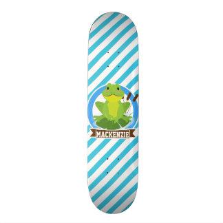 Green Frog on Lilypad; Blue & White Stripes Skateboard