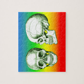 Green Front Side Human Skull Jigsaw Puzzle