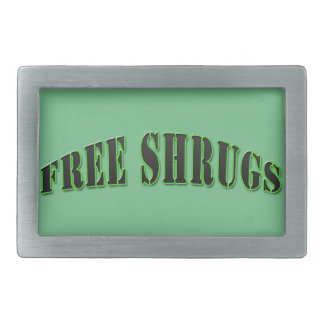 Green Funny Free shrugs Belt Buckle