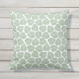 Green Garden Leaf Pattern Outdoor Pillow