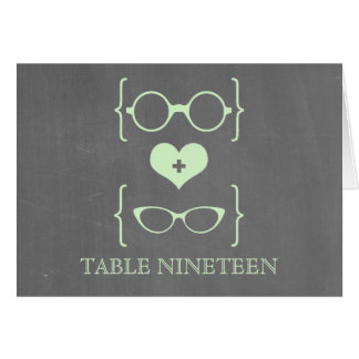 Green Geeky Glasses Chalkboard Table Number Card