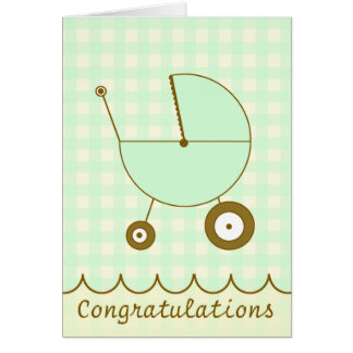 Green Gingham Baby Congratulations Card