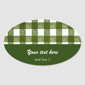 green gingham check pattern food contaner label oval stickers