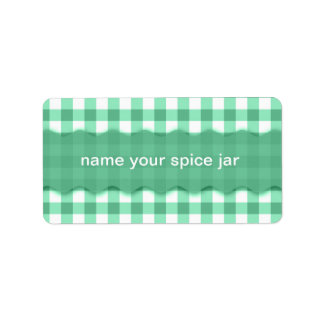 Green Gingham Checkered Design Kitchen Label Address Label