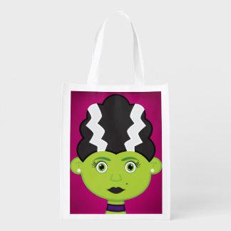 Green girl monster reusable grocery bag