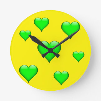 Green Glass Heart Tiled Customizable Round Clock