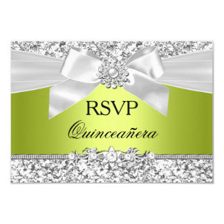 Green Glitter Bow Quinceanera RSVP Card