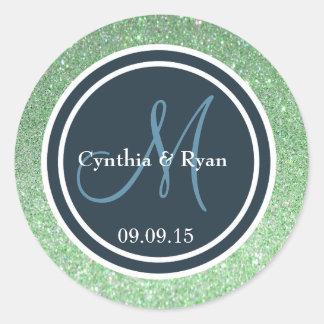 Green Glitter & Dark Blue Wedding Monogram Seal Round Sticker