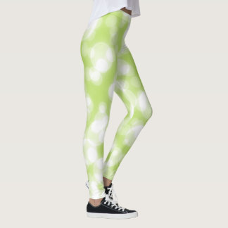 Green Glitter Faux Foil Bokeh Leggings