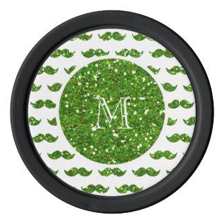 Green Glitter Mustache Pattern Your Monogram Poker Chips