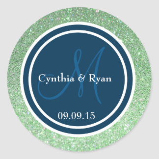 Green Glitter & Prussian Blue Wedding Monogram Round Sticker